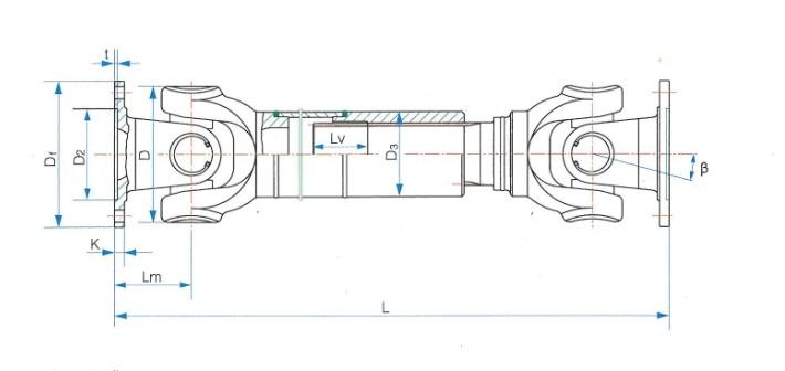 SWC-CH型长伸缩焊接式十字轴式万向联轴器SWC250CH