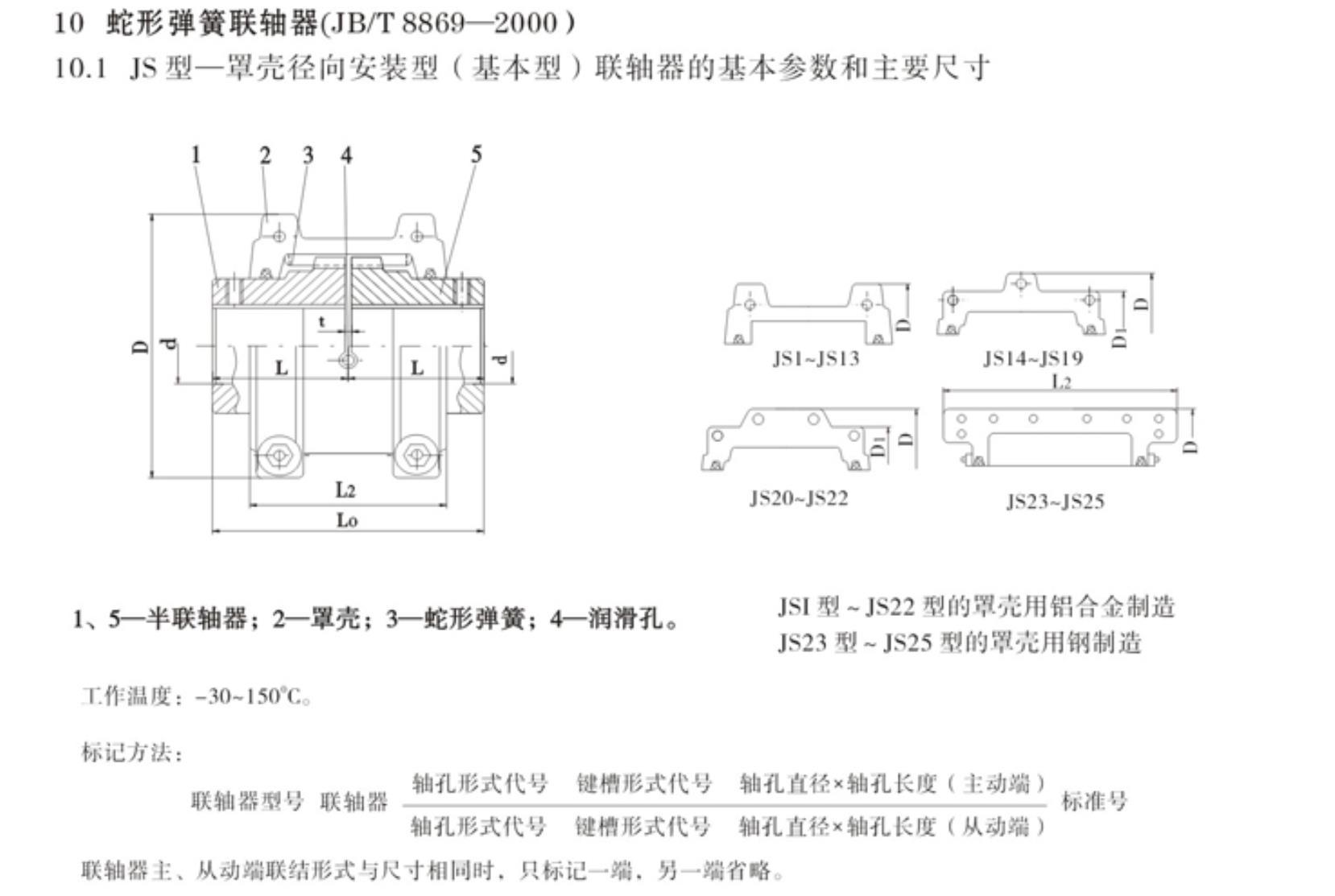 JS蛇形弹簧联轴器尺寸国标